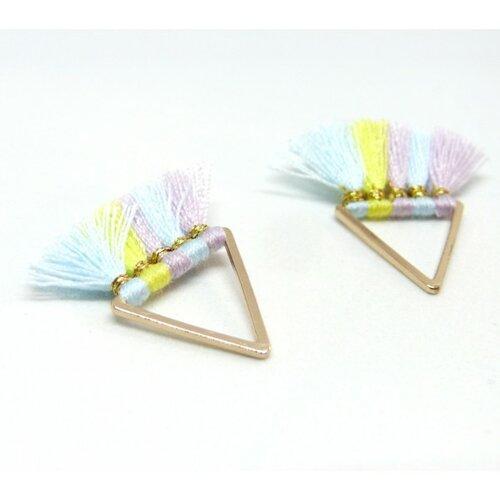 Ps11107711 pax 2 pompons breloque passementière triangle doré
