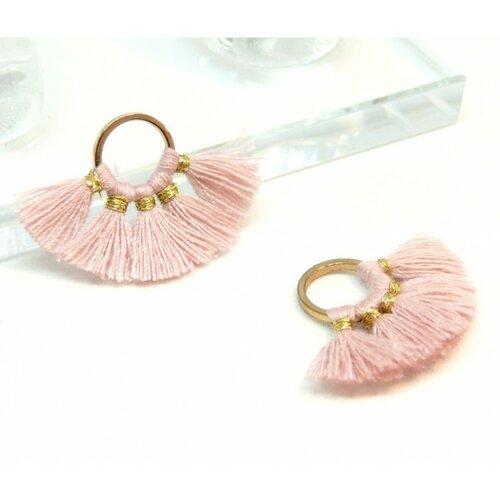 Ps110105199 pax 2 pompons breloque passementière rond doré couleur rose clair