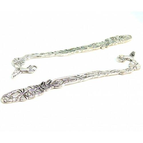 H1110059y lot de 2 magnifiques marque page colibri métal couleur argent antique