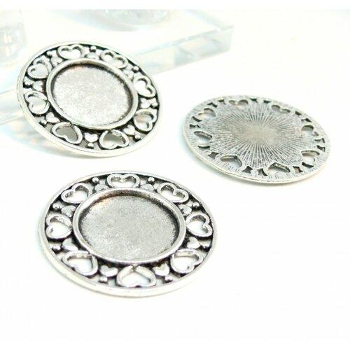 150406150103 pax 10 supports de pendentif arty multi coeurs 18mm metal couleur argent antique