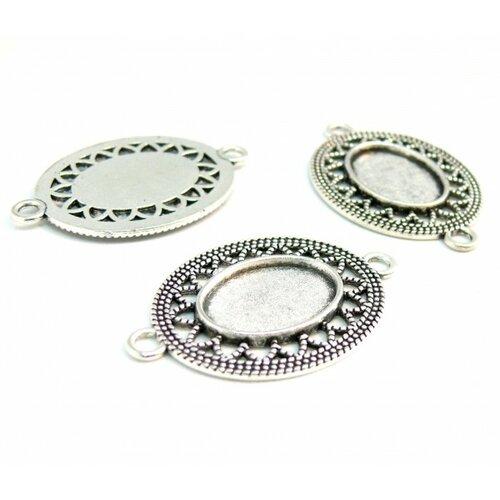 150426155706 pax 10 supports de pendentif arty ovale metal couleur argent antique