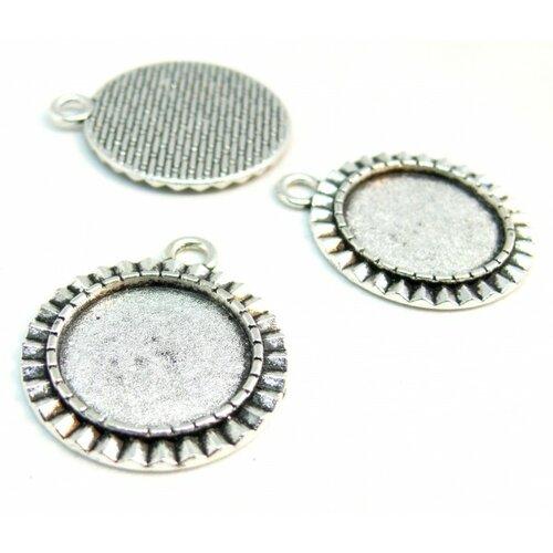 140807194954 pax 10 supports de pendentif arty rond 18mm metal couleur argent antique