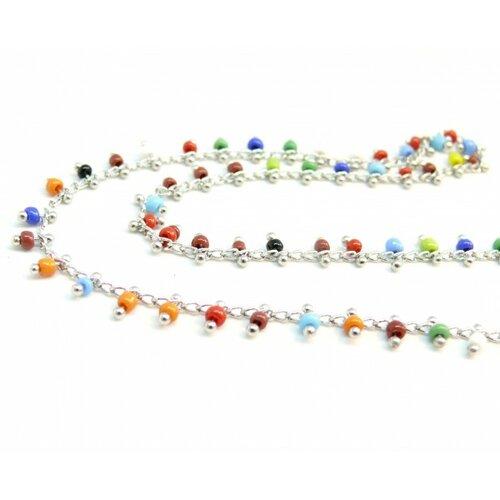 141104225916 lot de 50cm chaine et perles de verre, rocaille multicolore 2mm chaine laiton couleur argent platine