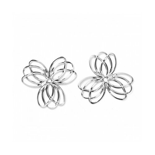 S1190288 pax 30 pendentifs multiconnecteur fleur metal couleur argent platine