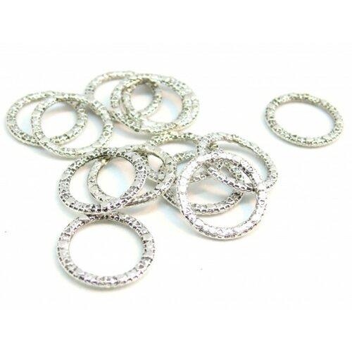 120425162243 pax 100 connecteurs anneaux fermes travailles 14mm métal argent antique