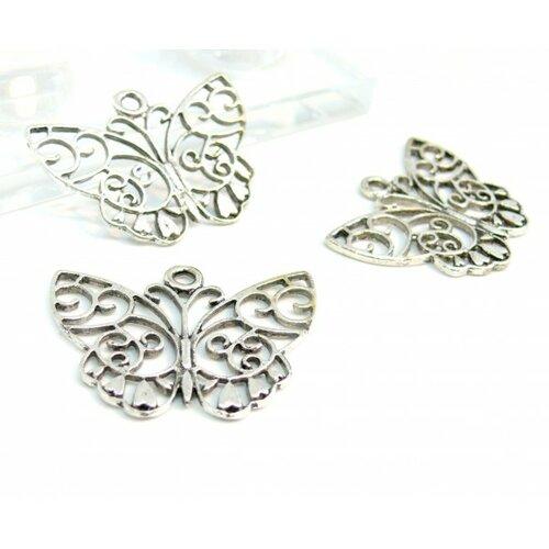 130107145822 lot de 10 grands pendentif papillon dentelle métal couleur argent antique
