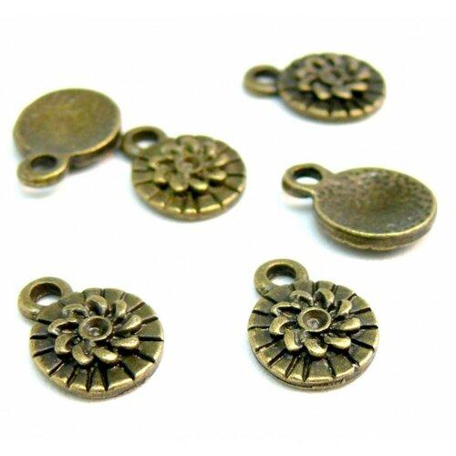 H1120418 pax 40 pendentifs breloque fleur 10mm métal couleur bronze