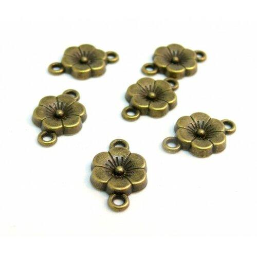 130827102458 pax 50connecteurs pendentifs petites fleurs métal couleur bronze