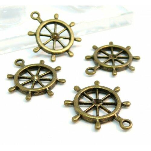 A1296 pax 10 pendentifs roues, gouvernail de bateau métal couleur bronze