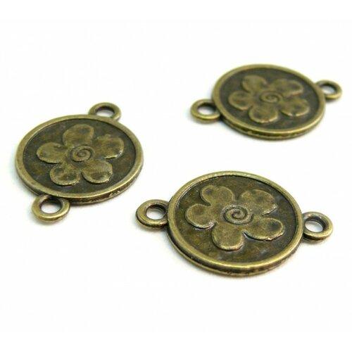 14041413821 pax 20 connecteurs pendentifs medaillon fleur métal couleur bronze
