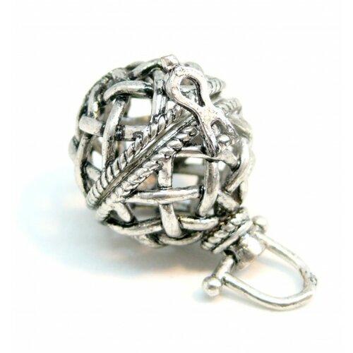 S1163543 pax 2 pendentifs cage bola pour perles 14mm metal couleur argent antique
