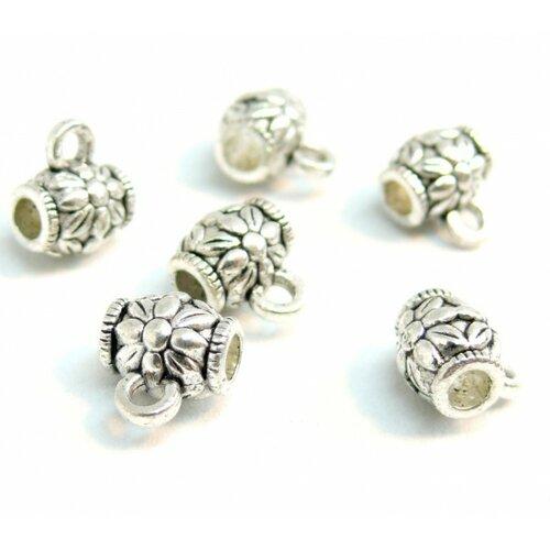 150827181920 pax 20 bélières tonneau fleur métal couleur argent antique