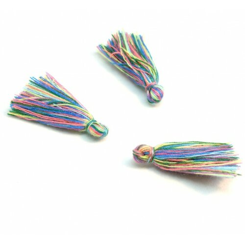 Hq2466 pax 50 mini pompons breloque passementière multicolore environ 30mm