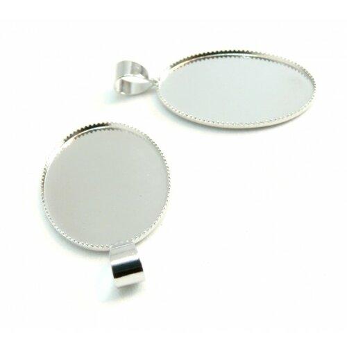 Bn114835 pax 10 supports pendentifs ovale 18 par 25mm plateau attache triangle laiton couleur argent platine