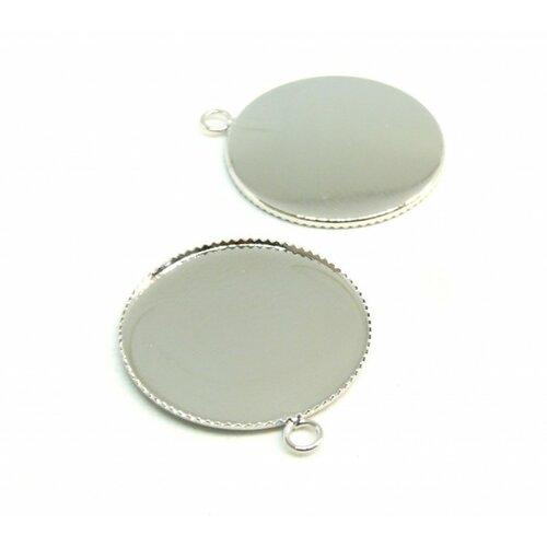 Bn118589 pax 10 supports de pendentif plateau attache ronde 20mm laiton couleur argent platine