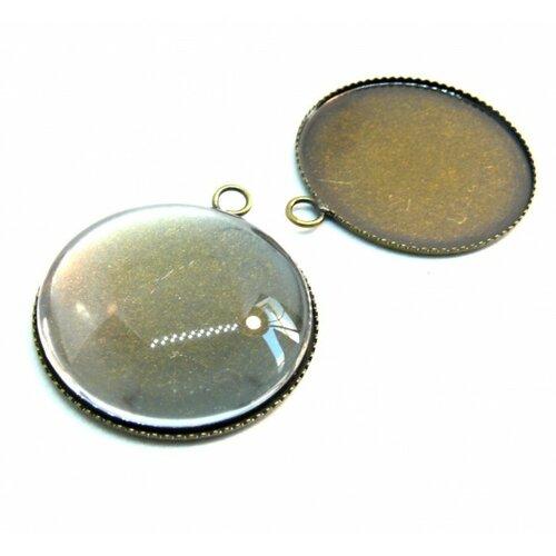 Bn1126735 20 pieces: pax 10 supports de pendentif plateau attache ronde 25mm bronze 10 cabochons
