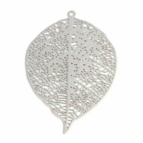 Ps110216692 pax de 5 estampes pendentif filigrane grande feuille 42mm métal couleur argent platine