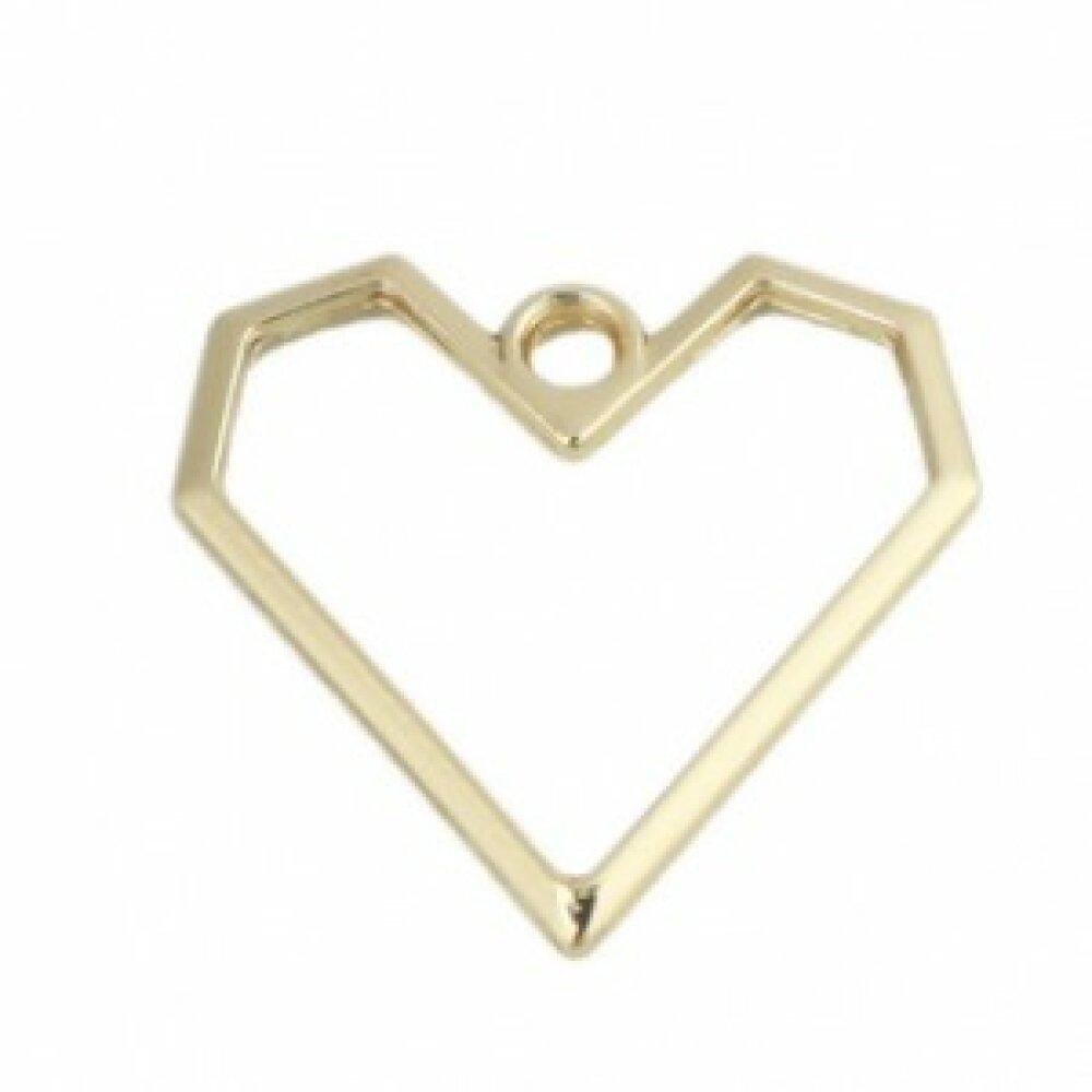 PS110218206 PAX 5 breloques pendentifs Coeur métal couleur Doré