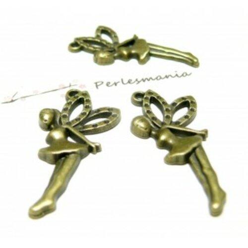 Lot de 10 pendentifs grande fée métal couleur bronze 2d1435