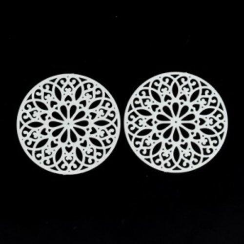 Ps110200255 pax de 5 estampes pendentif filigrane mandala 25mm blanc
