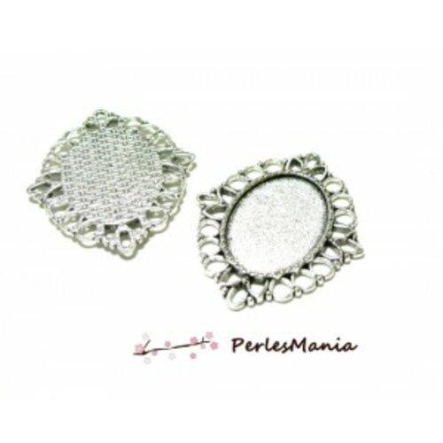 10 pendentifs connecteur ovale arty ref 276 métal couleur argent antique