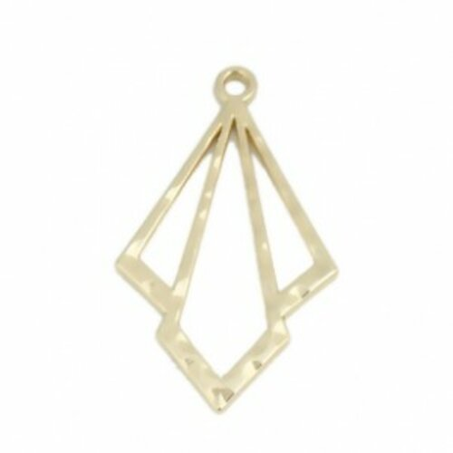 Ps110218542 pax 2 breloques pendentifs double losange métal couleur doré