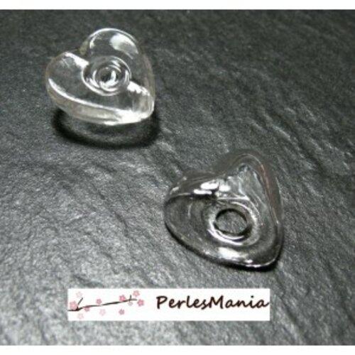 Pax 5 globes coeur cabochon creux à remplir en verre 25mm s1172222