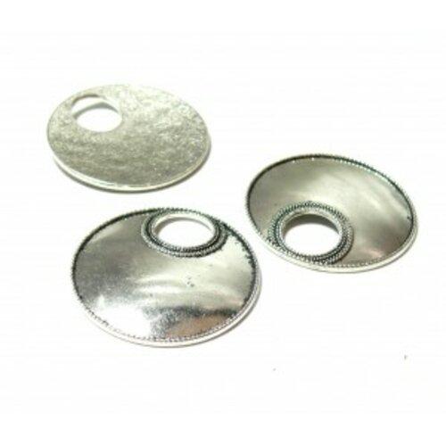 Ps110095230 pax 10 pendentifs breloque cercle travaille couleur argent antique