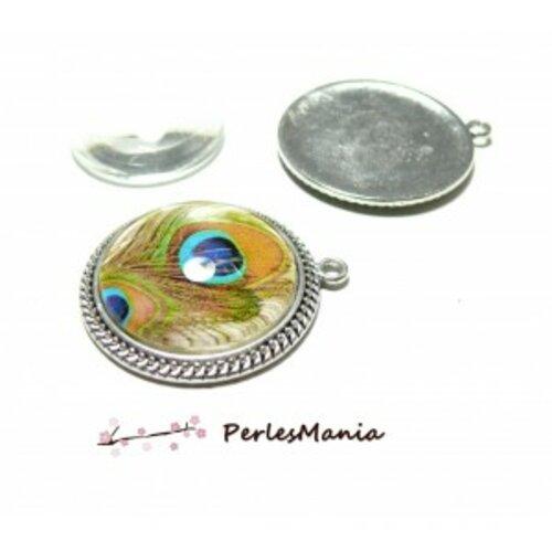 20 pièces: 10 supports de pendentif arty torsade 25mm h1167bis vieil argent et 10 cabochons
