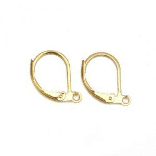 Ps11121209 pax 4 boucles d'oreilles dormeuses avec attache en acier inoxydable 16mm couleur or doré