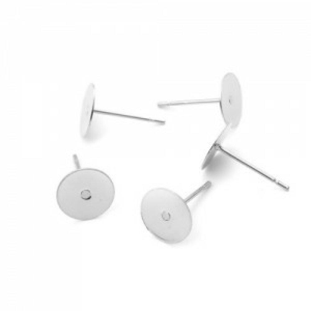 PS110212385 PAX 50 Supports de Boucle d'oreille Puce clou 8mm en Acier Inoxydable et embouts plastique