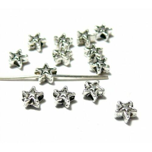 S1100393 pax 200 perles intercalaires etoiles 4mm metal couleur argent antique