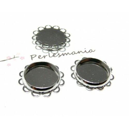 Pax 10 supports de pendentif vague plate 12mm couleur argent platine