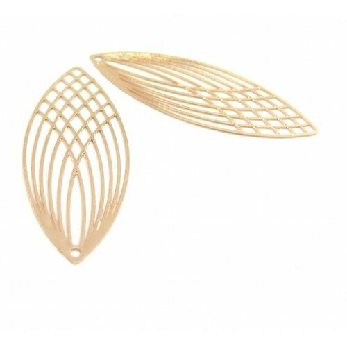 Ae118987 lot de 4 estampes pendentif filigrane grand ovale oblong or rose 15 par 40mm