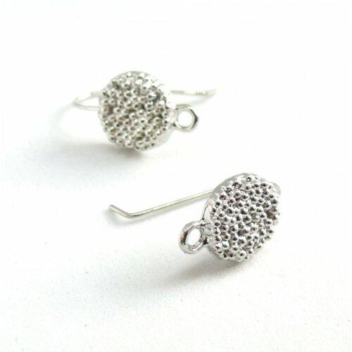 Ga0618 pax 10 boucles d'oreille crochet picot métal coloris argent platine