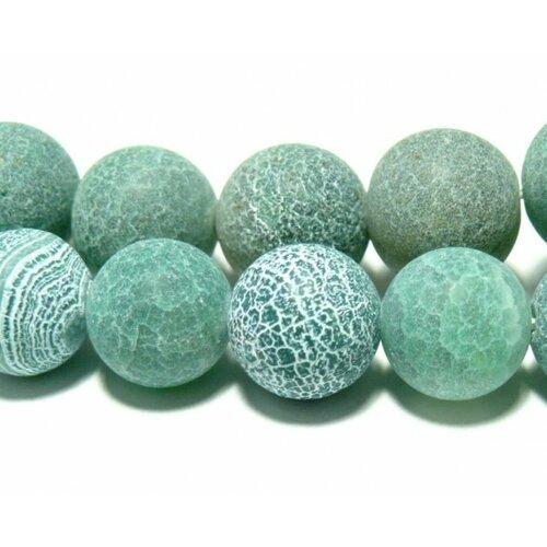 1 fil d'environ 49 perles agate craquelé 8mm effet givre vert d'eau h589  coloris 08