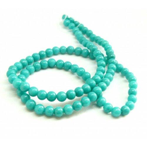 Hxs15 lot 1 fil d'environ 69 perles rondes jade mashan bleu canard 6 mm