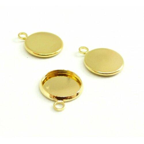 Ps1192981 pax 10 supports de pendentifs attache ronde 12mm cuivre coloris dore