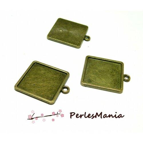 Lot de 5 supports de pendentifs carre qualité extra 20mm métal coloris bronze id27670