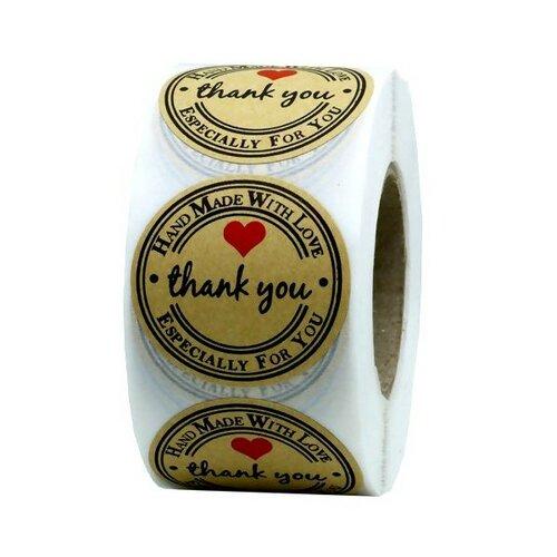 S11349329 pax 1 rouleau de 500 stickers thank you 25mm pour customisation boite cadeaux et scrapbooking