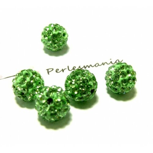 4 perles shambala ronde 10mm qualité coloris vert