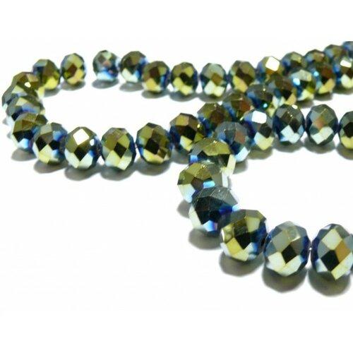 10 perles facettées rondelles vert 8 par 10mm ref 2j1416