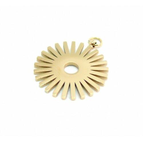 K1911021 pax 1 pendentif géométrique soleil 16mm en acier inoxydable coloris doré pour bijoux raffinés