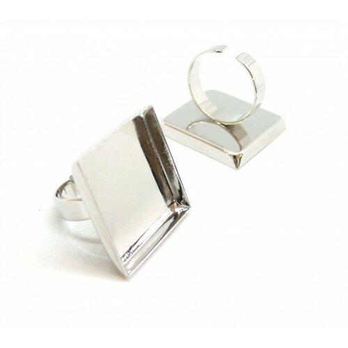 Bn117102 pax 10 supports de bague carré 25mm bord épais qualité extra laiton couleur argent platine