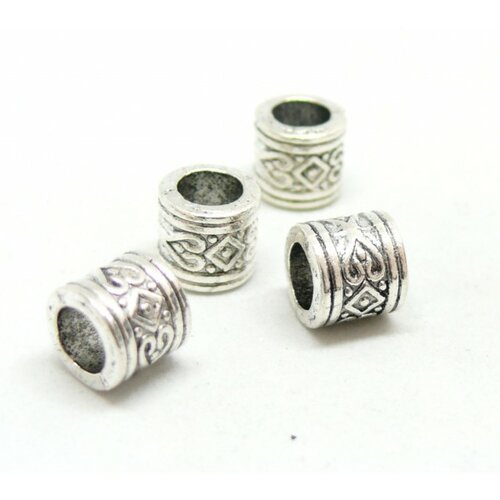 Ps110146677 pax 25 perles intercalaires rondelles coeur et losange 8 par 7mm métal couleur argent antique