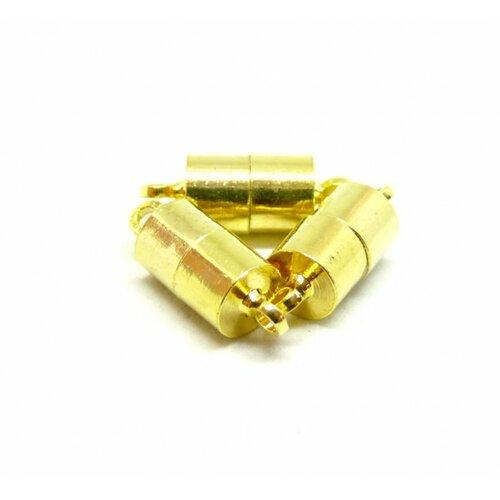 P027 pax 5 sets de fermoirs magnétique aimanté cylindre 16mm couleur doré