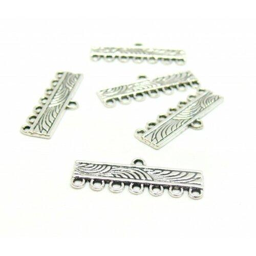S110200020 pax de 20 pendentifs multiconnecteur barre 27 mm motif vague 7 anneaux metal coloris argent antique