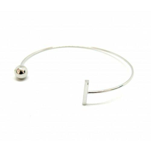Bu11170412140610 pax: 1 bracelet jonc géométrique et assymétrique en acier inoxydable 304 coloris argent
