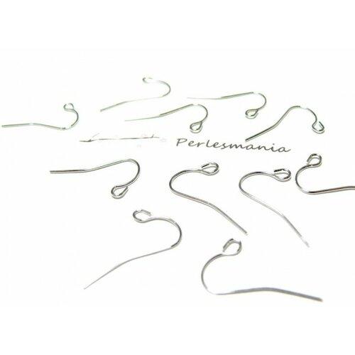 Ref 001ai pax 50 boucles d'oreille crochet simple acier inoxydable coloris argent platine