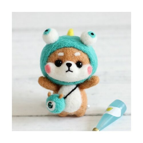 S11671817 kit de feutrage shiba inu chien japonais kawai diy animal aiguille laine à feutrer